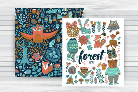 Vector forest elements in doodle childish style on wood background, handdrawn animals and insects, trees and plants, seamless pattern with forest animals.