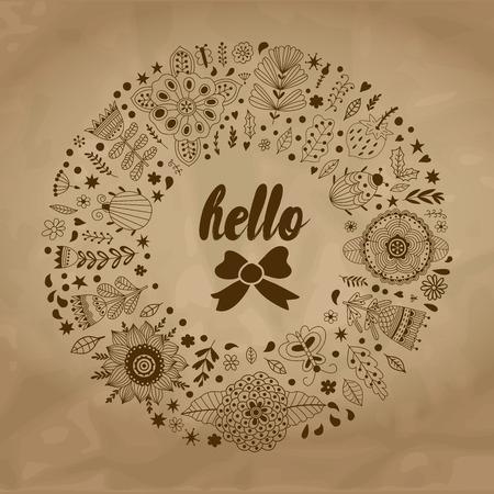 donna farfalla: illustrazione vettoriale Corona sulla vecchia carta fatta di fiori ed erbe. Vector cerchio cornice decorativa. elementi a molla. scarabocchi corona floreale. Invito o biglietto di auguri di progettazione.