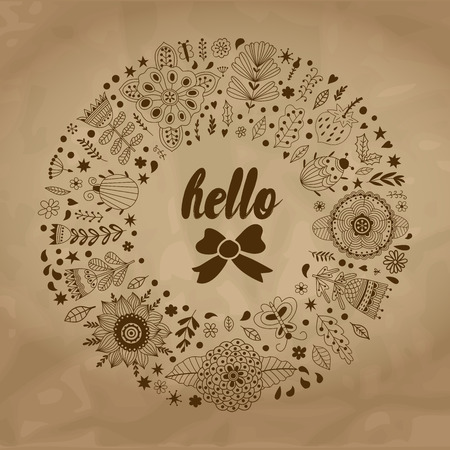 jardines con flores: ilustraci�n vectorial corona de flores en el papel viejo de flores y hierbas. Vector decorativo del marco del c�rculo. elementos de resorte. garabatos guirnalda floral. Invitaci�n o dise�o de la tarjeta de felicitaci�n.