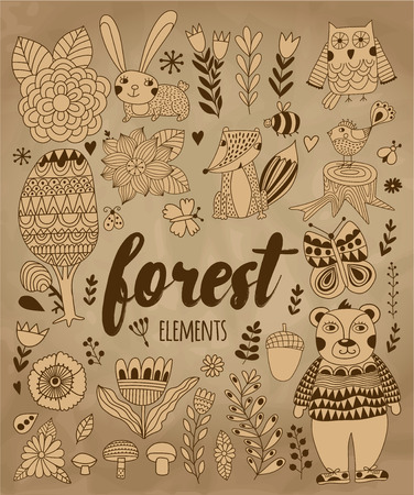 cartoon bug: Vector forest elements in doodle childish style, handdrawn animals and insects, trees and plants. Illustration