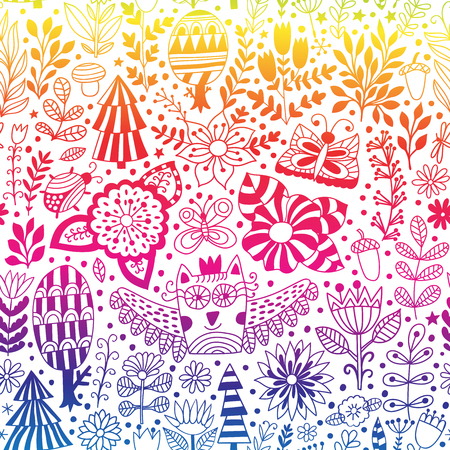 detailed: Vector forest design, floral seamless pattern with forest, flowers, owl, trees. Vector background with butterflies, bugs, trees and flowers in childish style