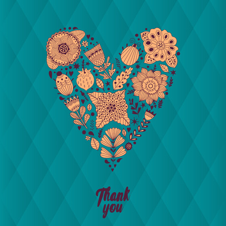 flower meadow: Floral heart. Vector heart made of flowers. Doodle Heart. Valentines day card, herbs and flowers doodles