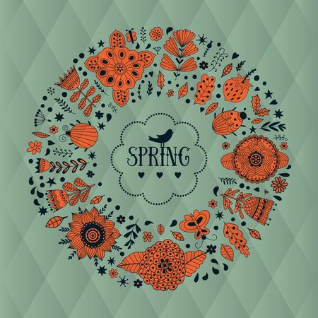 femme papillon: vecteur guirlande illustration faite de fleurs et d'herbes. Vecteur cercle d�coratif cadre. �l�ments de printemps. griffonnages Floral couronne. Invitation ou la conception de cartes de voeux.