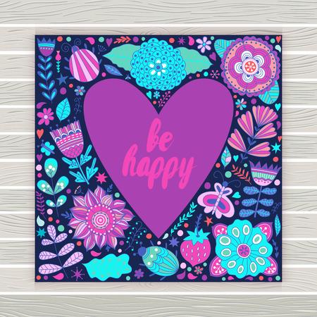 donna farfalla: San Valentino s biglietto di auguri template giorno. Fiori a forma di cuore. Cuore di fiori. Doodle Cuore. San Valentino carta. Vettoriali