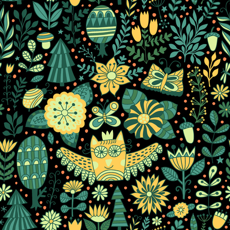 forest design, floral seamless pattern with forest, flowers, owl, trees. background with butterflies, bugs, trees and flowers in childish style