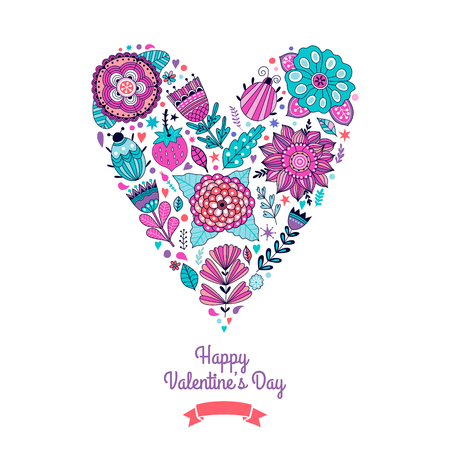 forrest: Floral heart. Heart made of flowers. Doodle Heart. Valentines day card, herbs and flowers doodles. Illustration