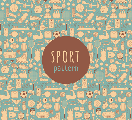 sports equipment: Doodle sports elements.  illustration with fitness icons in handdrawn style.  Sport and fitness seamless doodle pattern Illustration