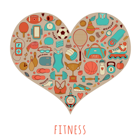 weight machine: handdrawn illustration set of fitness and sport elements and symbol in doodle style. Healthy lifestyle background made of sport icons in heart shape