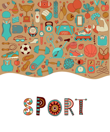 sleeping pad: handdrawn  illustration set of fitness and sport elements in doodle style. Healthy lifestyle background made of sport icons Illustration