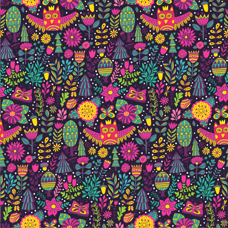 cartoon insect: forest design, floral seamless pattern with forest, flowers, owl, trees. Illustration