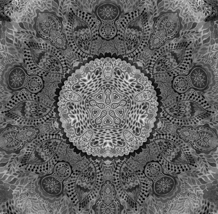 indian paint brush: Watercolor mandala. Decor for your design, lace ornament. Round pattern, oriental style Stock Photo