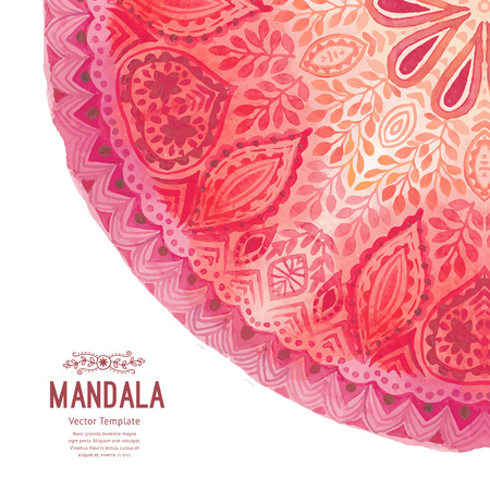 round corner: Watercolor mandala. Decor for your design, lace ornament in form of round corner in oriental style. Illustration