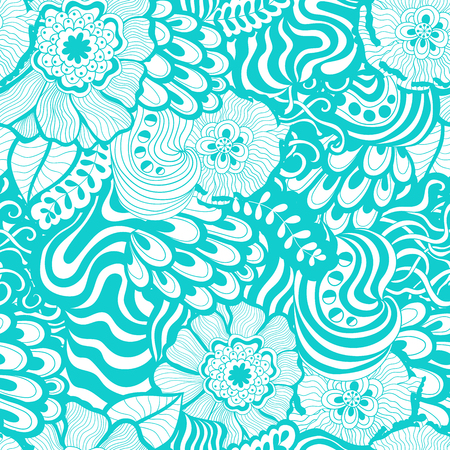 water weed: Vector vivid seamless abstract hand-drawn pattern with plants and flowers. Blue ocean wave patterns seamlessly tiling. Hand drawn seamless wave background