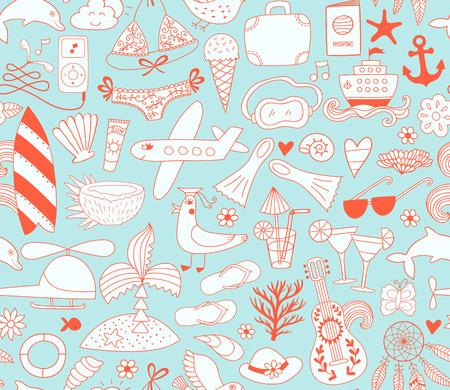 enfant maillot de bain: Les vacances d'été des éléments doodle set, pattern. dessin Voyage dessin. design vector vacances illustration.