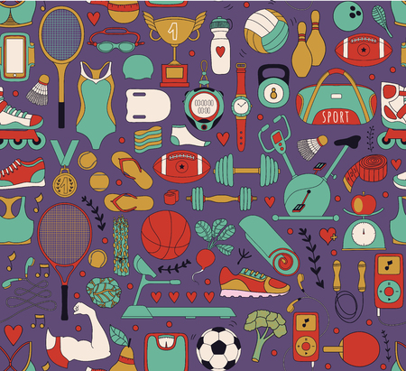 sleeping pad: Doodle sports elements. Vector illustration with fitness icons in handdrawn style.  Sport and fitness seamless doodle pattern