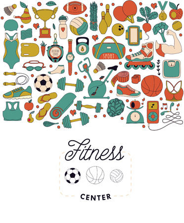 exercise machine: Vector handdrawn  illustration set of fitness and sport elements in doodle style. Healthy lifestyle background made of sport icons Illustration
