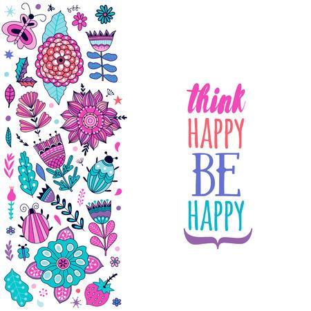 Floral Design-Karte, Blumen und Blatt Doodle-Elemente. Illustration aus Blumen und Kräutern. Vector dekorative Einladung. Die Federelemente. Floral Doodles, denken, glücklich, glücklich sein.