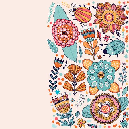 pistil: Floral card design, flowers and leaf doodle elements. Illustration made of flowers and herbs. Vector decorative invitation. Spring elements. Floral doodles