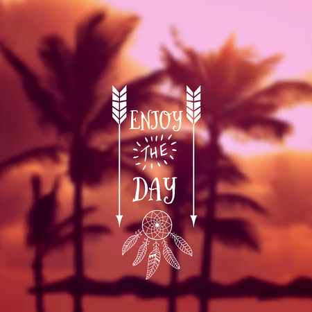 Travel summer design. Ocean beach with palms backdrop. editable blurred . Typography label Lettering. Typography quote