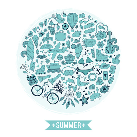 Summer heart design made of doodle season icons. Doodle travel vacation icons arranged in circle round shape Illustration