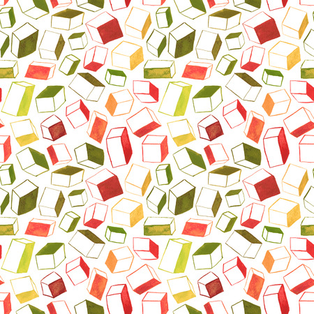 hatched: Original hand drawn cubes abstract background, seamless pattern. Stock Photo