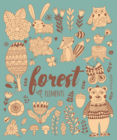 draw: Vector forest elements in doodle childish style, handdrawn animals and insects, trees and plants. Illustration