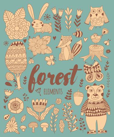 zeichnen: Vector Wald Elemente in doodle kindischen Stil, handdrawn Tiere und Insekten, Bäume und Pflanzen.