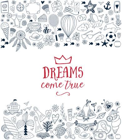 cruise ship: Summer doodles design, travel vacation illustration, ocean and beach concept. Illustration