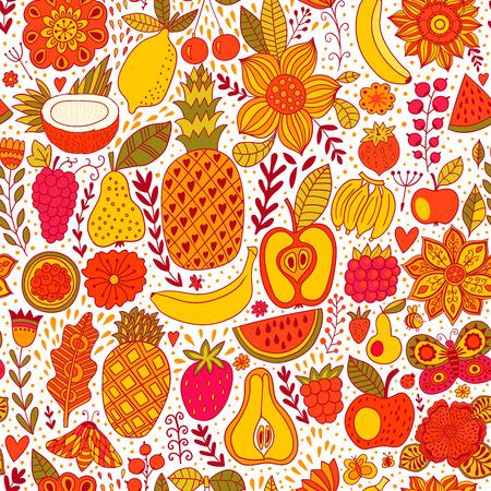 Fruit doodles seamless vector pattern. Hand drawn summer backdrop.