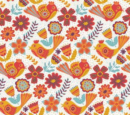 adorning: Vector flower pattern, seamless botanic texture, detailed flowers illustrations. All elements are not cropped and hidden under mask. Doodle style, spring floral background