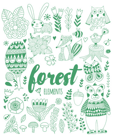 bugs bunny: Vector forest elements in doodle childish style, handdrawn animals and insects, trees and plants. Illustration
