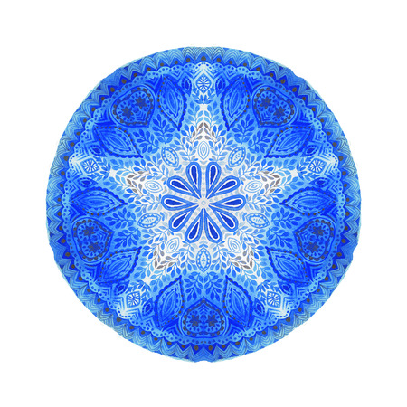 indian paint brush: Watercolor mandala. Decor for your design, square lace ornament in oriental style.