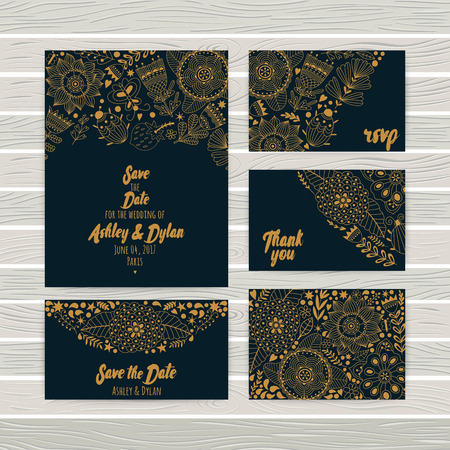 wedding table decor: Wedding Invitations cards Template, envelope, thank you card, save the date cards. Bridal set. RSVP card. Marriage event. Valentine Day cards
