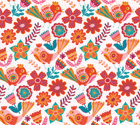 botanic: Vector flower pattern, seamless botanic texture, detailed flowers illustrations. All elements are not cropped and hidden under mask. Doodle style, spring floral background