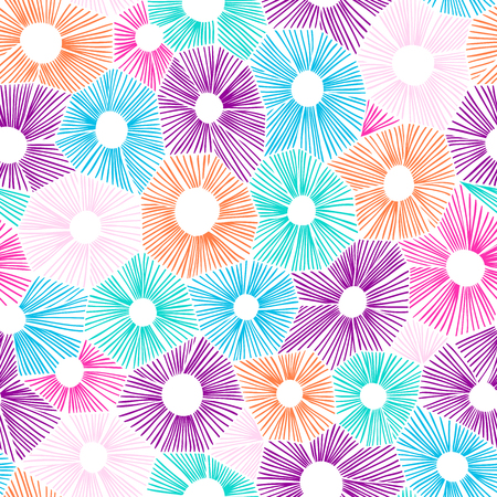 Vector abstract pattern made of circles, honeycomb or hexagon shape grid. Hatching handdrawn backdrop. Illustration