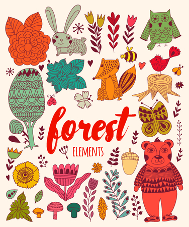 Vector forest elements in doodle childish style, handdrawn animals and insects, trees and plants. Illustration