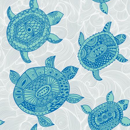 animal pattern: Seamless pattern with turtles. Animal background