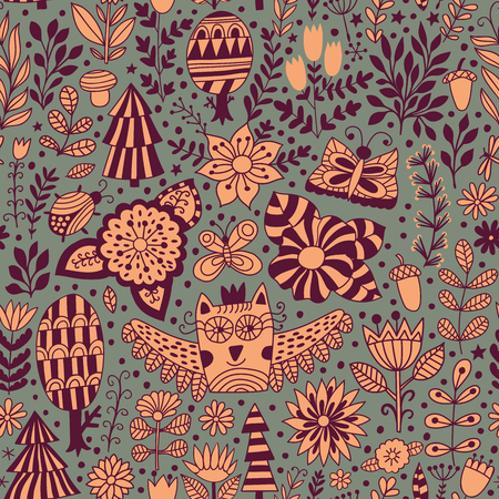 florescence: Floral pattern with forest.