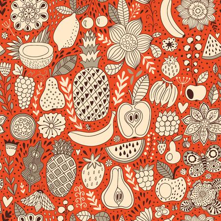passion fruit flower: Fruit doodles seamless vector pattern. Hand drawn summer backdrop