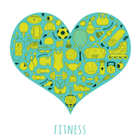 Healthy Lifestyle Background, I love sport, hand drawn doodle set