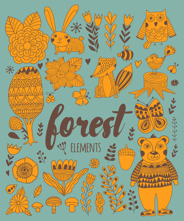 Vector forest elements in doodle childish style Illustration