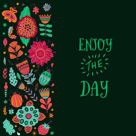 pistil: Floral card design, leaf doodle elements
