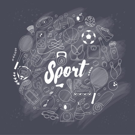 fitness and sport elements in doodle style Vetores