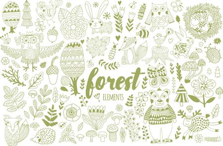 Vector forest elements in doodle childish style Ilustração