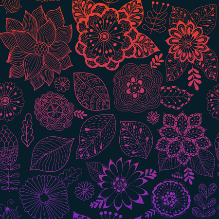 cropped: Colorful seamless botanic texture, detailed flowers illustrations. All elements are not cropped and hidden under mask. Doodle style, spring floral background.