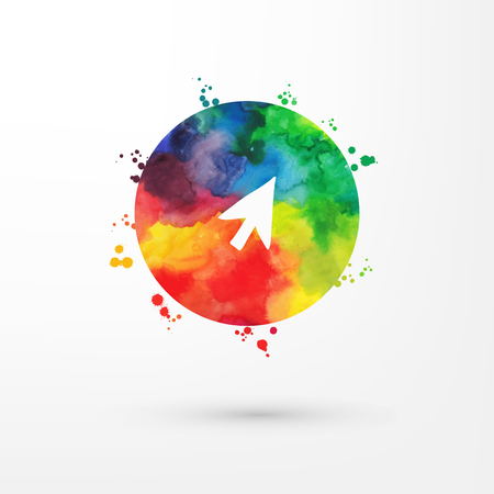 downgrade: Vector rainbow grungy watercolor arrow icon inside circle with paint stains and blots