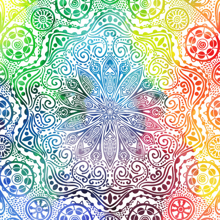 sacral: Flower mandala design in oriental style. Watercolor texture and splash.