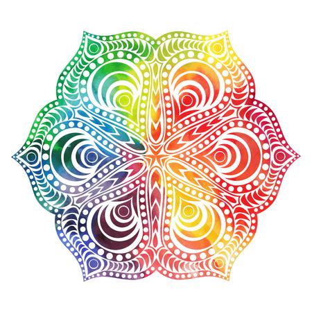 Flower mandala design in oriental style. Watercolor texture and splash Illustration
