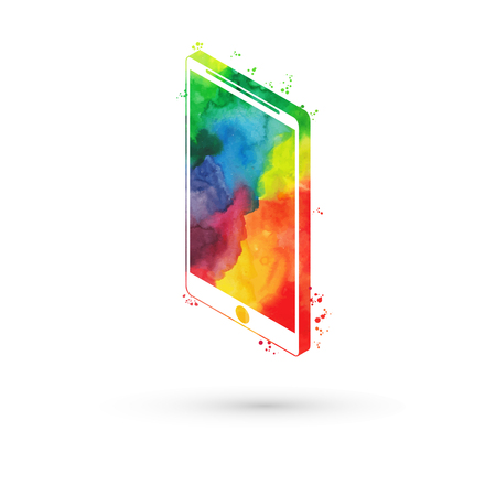 iphon: Vector illustration of isometric watercolor smartphone, rainbow paints. Modern smart phone.