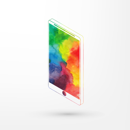 Vector illustration of isometric watercolor smartphone, rainbow paints. Modern smart phone